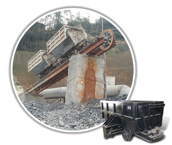 Single-side Curved Rail Dumping Mine Car