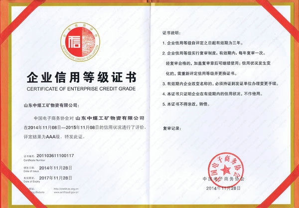 China Coal Group-China Internet Association AAA Grade Corporate Credit Rating Companies