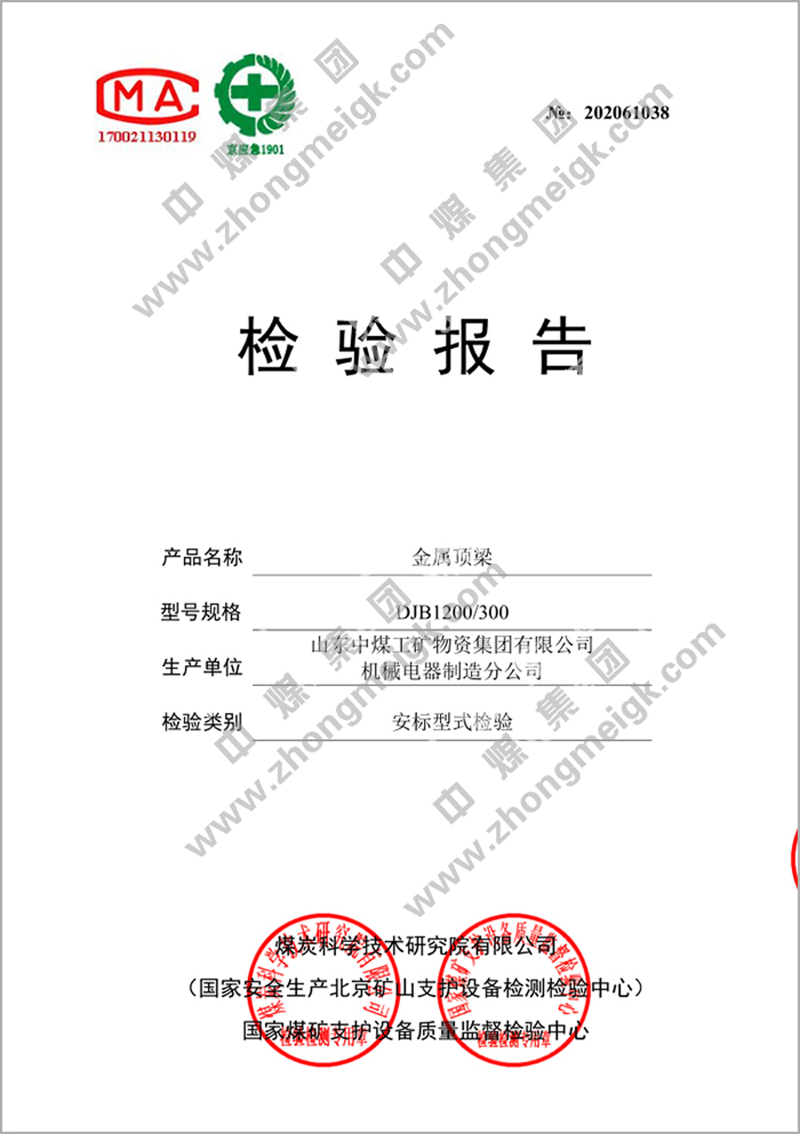 Congratulations To China Coal Group'S Metal Roof Beam Products For Obtaining The Safety Standard Inspection Report
