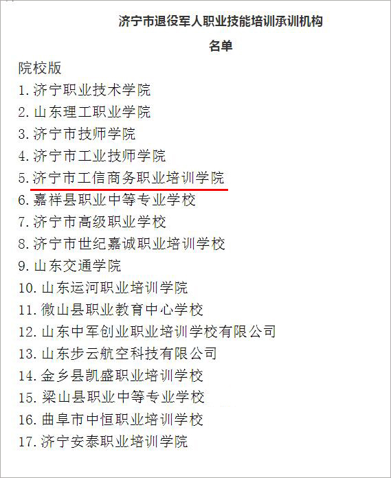 Congratulations To Jining City Industry And Information Business Vocational Training College For Being Selected As A Skill Training Institution For Retired Soldiers